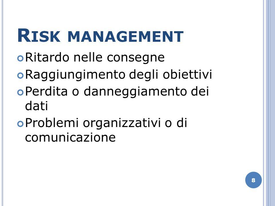 R ISK MANAGEMENT Ritardo nelle consegne Raggiungimento degli obiettivi Perdita o danneggiamento dei dati Problemi organizzativi o di comunicazione 8
