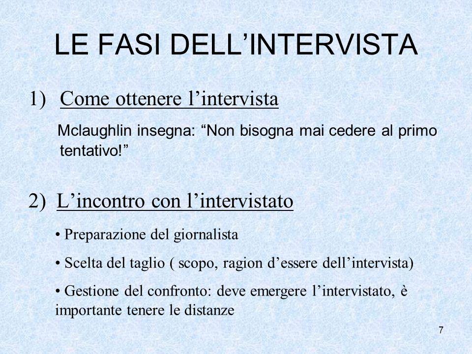 7 LE FASI DELLINTERVISTA 1)Come ottenere lintervista Mclaughlin insegna: Non bisogna mai cedere al primo tentativo.