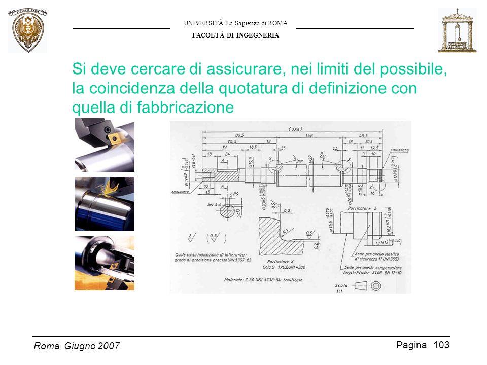 Roma Giugno 2007 UNIVERSITĂ La Sapienza di ROMA FACOLTĂ DI INGEGNERIA Pagina 103 Si deve cercare di assicurare, nei limiti del possibile, la coinciden