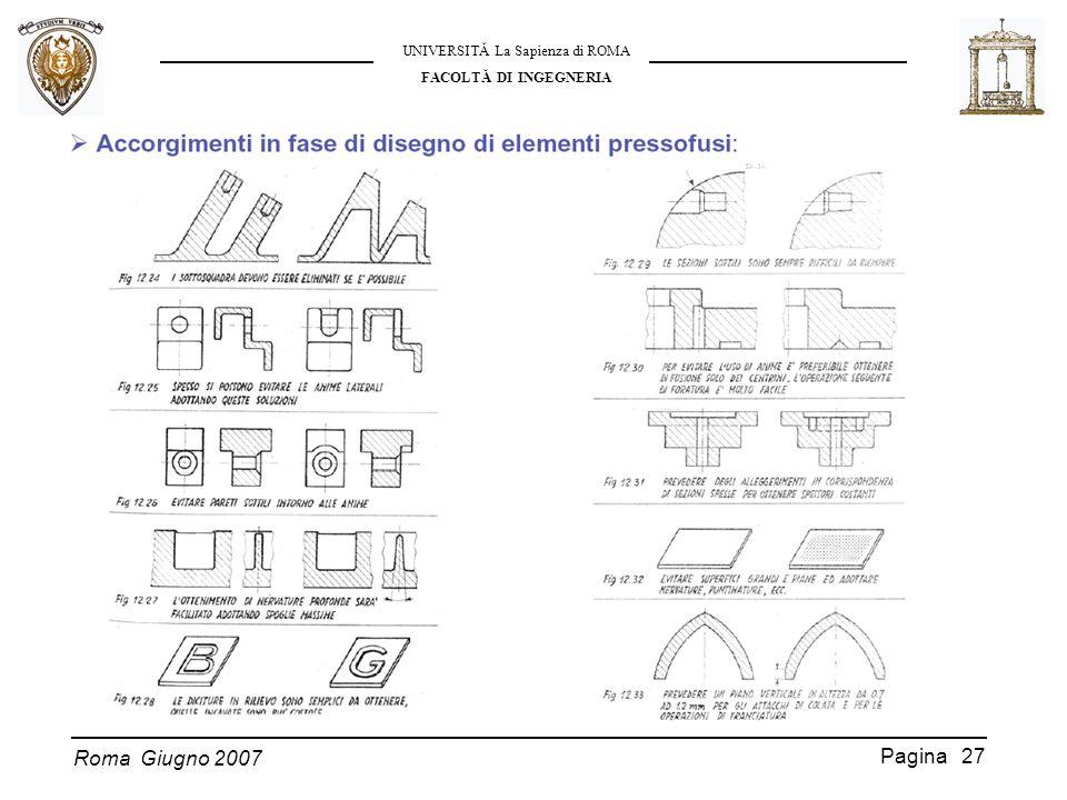Roma Giugno 2007 UNIVERSITĂ La Sapienza di ROMA FACOLTĂ DI INGEGNERIA Pagina 27
