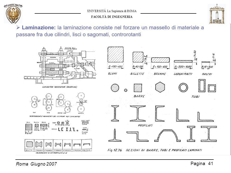 Roma Giugno 2007 UNIVERSITĂ La Sapienza di ROMA FACOLTĂ DI INGEGNERIA Pagina 41