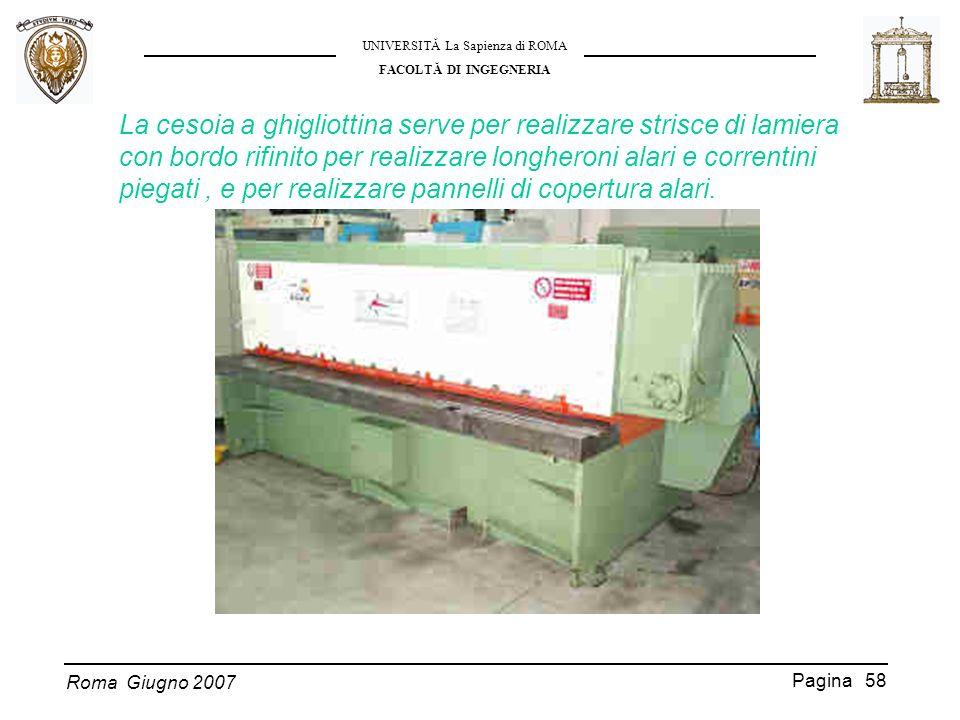 Roma Giugno 2007 UNIVERSITĂ La Sapienza di ROMA FACOLTĂ DI INGEGNERIA Pagina 58 La cesoia a ghigliottina serve per realizzare strisce di lamiera con b