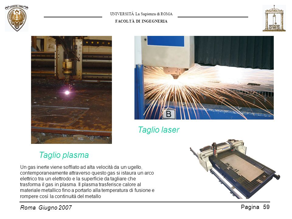 Roma Giugno 2007 UNIVERSITĂ La Sapienza di ROMA FACOLTĂ DI INGEGNERIA Pagina 59 Taglio laser Un gas inerte viene soffiato ad alta velocità da un ugell