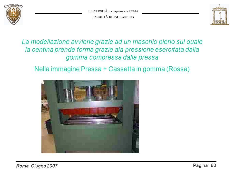 Roma Giugno 2007 UNIVERSITĂ La Sapienza di ROMA FACOLTĂ DI INGEGNERIA Pagina 60 La modellazione avviene grazie ad un maschio pieno sul quale la centin