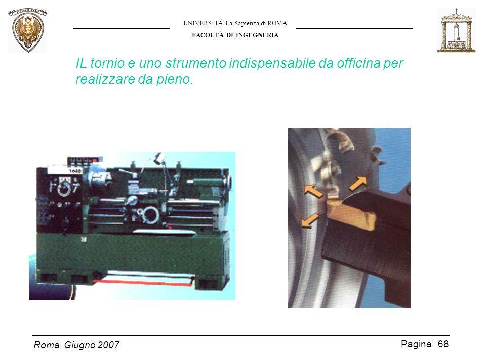 Roma Giugno 2007 UNIVERSITĂ La Sapienza di ROMA FACOLTĂ DI INGEGNERIA Pagina 68 IL tornio e uno strumento indispensabile da officina per realizzare da