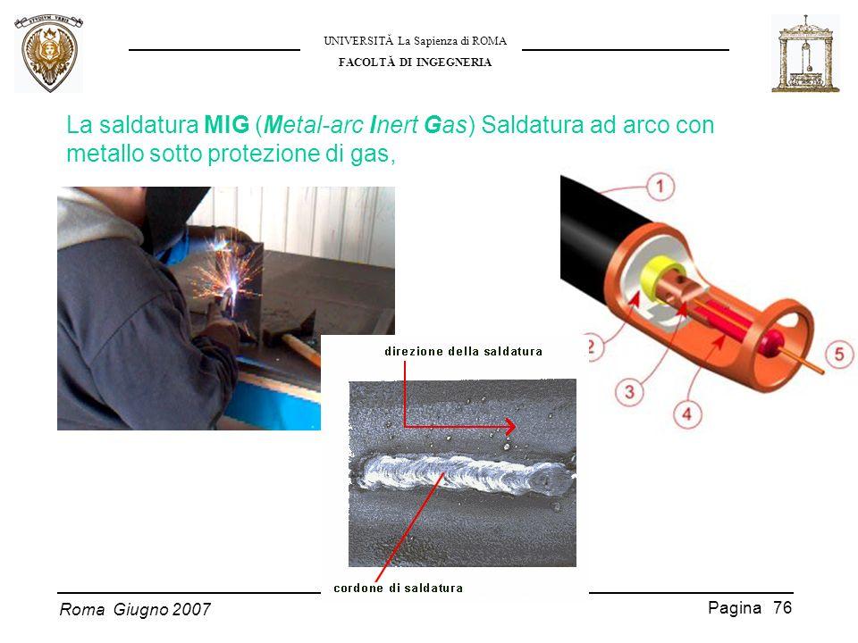 Roma Giugno 2007 UNIVERSITĂ La Sapienza di ROMA FACOLTĂ DI INGEGNERIA Pagina 76 La saldatura MIG (Metal-arc Inert Gas) Saldatura ad arco con metallo s