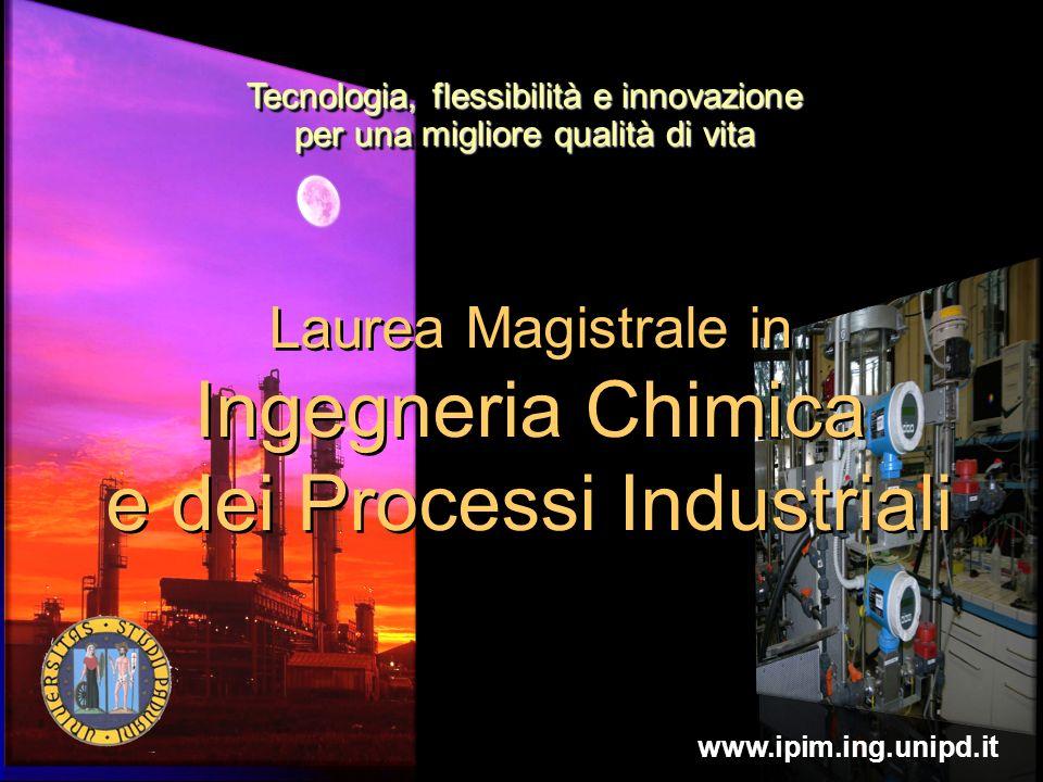 Tecnologia, flessibilità e innovazione per una migliore qualità di vita Laurea Magistrale in Ingegneria Chimica e dei Processi Industriali www.ipim.in