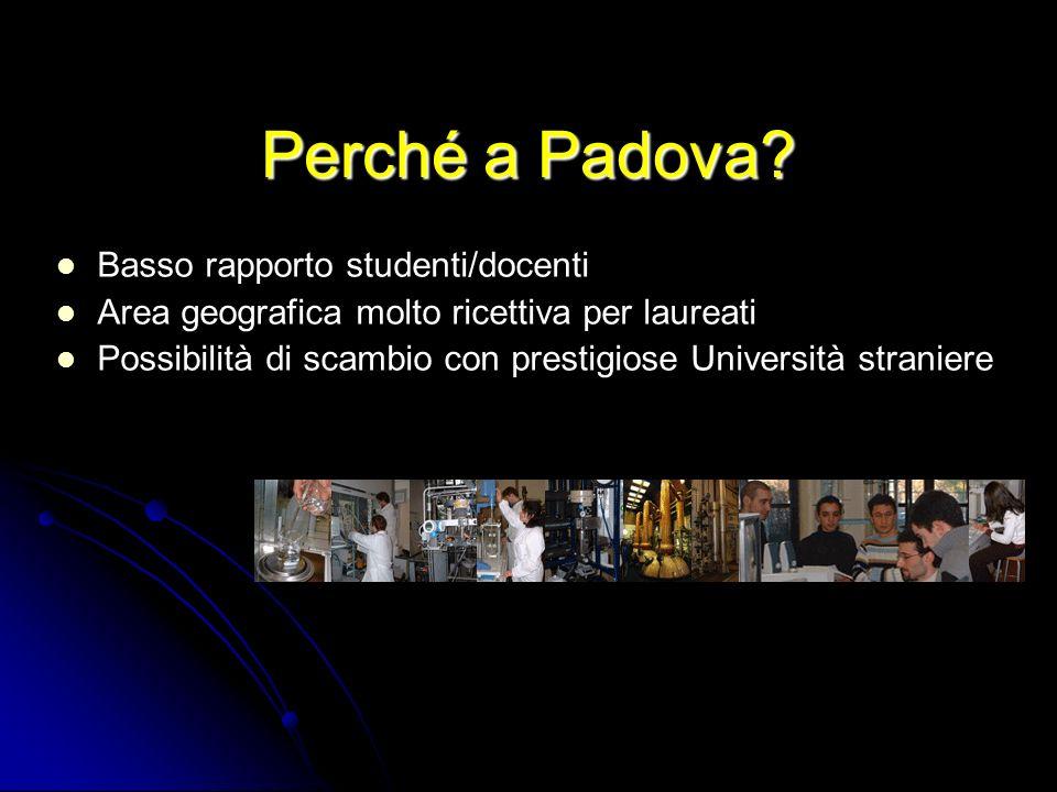 Perché a Padova? Basso rapporto studenti/docenti Area geografica molto ricettiva per laureati Possibilità di scambio con prestigiose Università strani