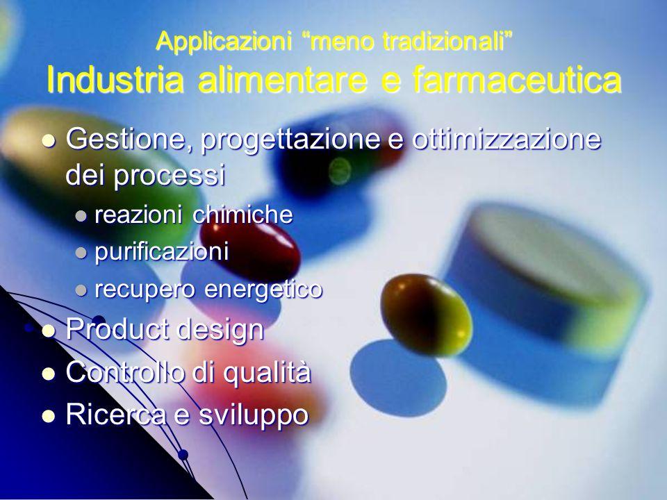 Applicazioni meno tradizionali Industria alimentare e farmaceutica Gestione, progettazione e ottimizzazione dei processi Gestione, progettazione e ott