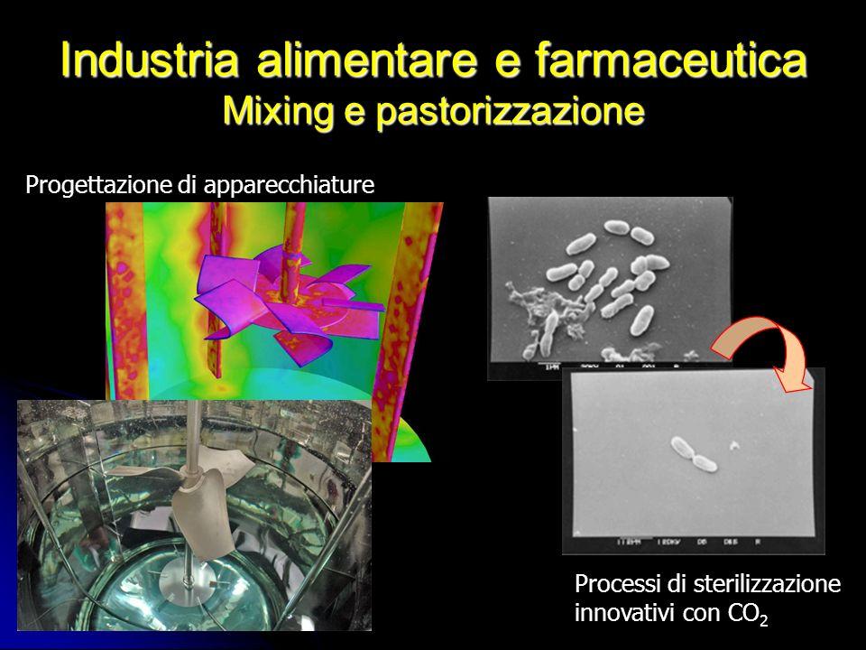 Industria alimentare e farmaceutica Mixing e pastorizzazione Processi di sterilizzazione innovativi con CO 2 Progettazione di apparecchiature