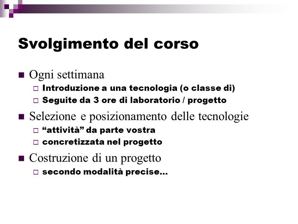 Svolgimento del corso Ogni settimana Introduzione a una tecnologia (o classe di) Seguite da 3 ore di laboratorio / progetto Selezione e posizionamento