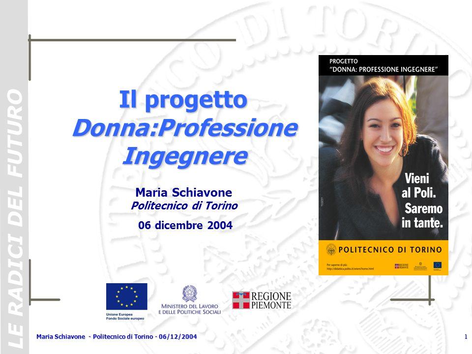 LE RADICI DEL FUTURO Maria Schiavone - Politecnico di Torino - 06/12/20041 Il progetto Donna:Professione Ingegnere Maria Schiavone Politecnico di Tori