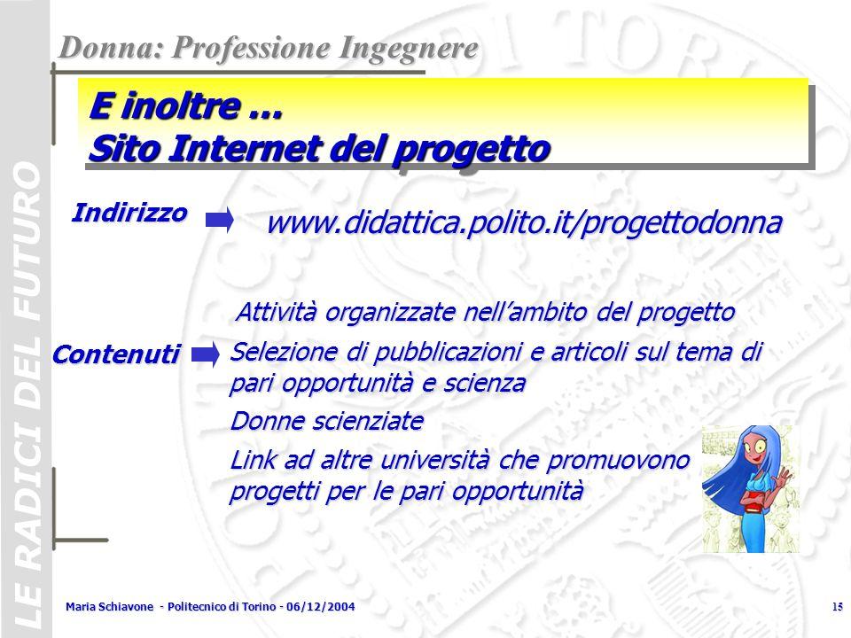 LE RADICI DEL FUTURO Maria Schiavone - Politecnico di Torino - 06/12/200415 E inoltre … Sito Internet del progetto Donna: Professione Ingegnere www.di
