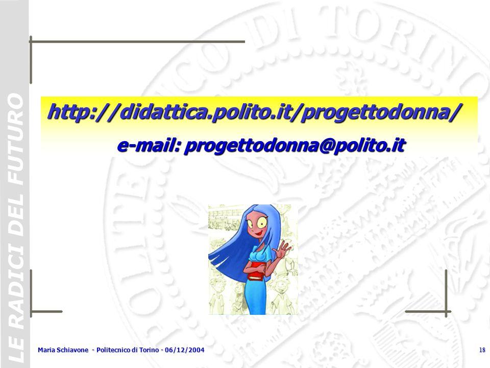 LE RADICI DEL FUTURO Maria Schiavone - Politecnico di Torino - 06/12/200418 http://didattica.polito.it/progettodonna/ e-mail: progettodonna@polito.it