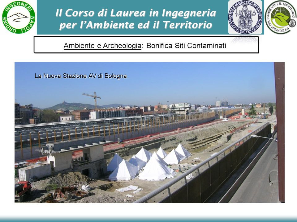 Il Corso di Laurea in Ingegneria per lAmbiente ed il Territorio Ambiente e Archeologia: Bonifica Siti Contaminati La Nuova Stazione AV di Bologna