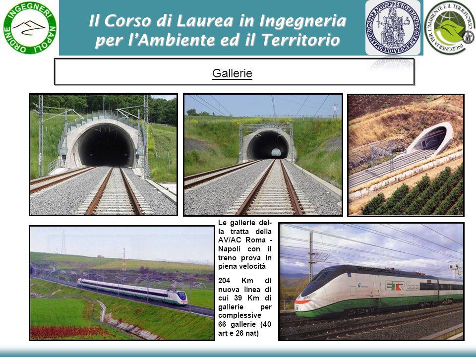 Il Corso di Laurea in Ingegneria per lAmbiente ed il Territorio Le gallerie del- la tratta della AV/AC Roma - Napoli con il treno prova in piena velocità 204 Km di nuova linea di cui 39 Km di gallerie per complessive 66 gallerie (40 art e 26 nat) Gallerie