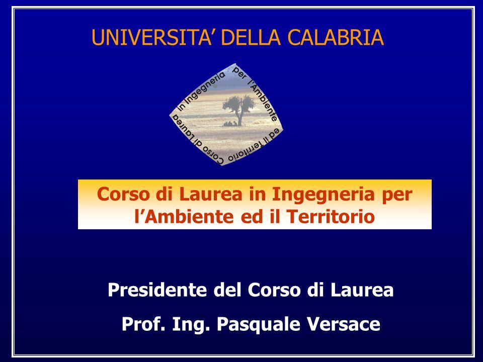 UNIVERSITA DELLA CALABRIA Corso di Laurea in Ingegneria per lAmbiente ed il Territorio Prof.