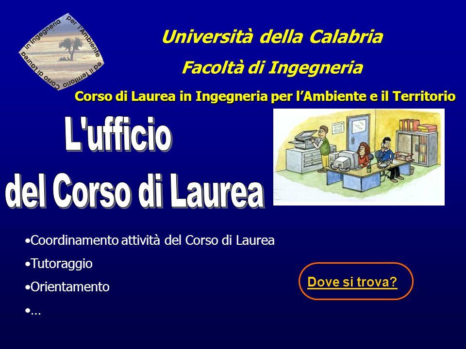 Università della Calabria Facoltà di Ingegneria Corso di Laurea in Ingegneria per lAmbiente e il Territorio Coordinamento attività del Corso di Laurea Tutoraggio Orientamento … Dove si trova?