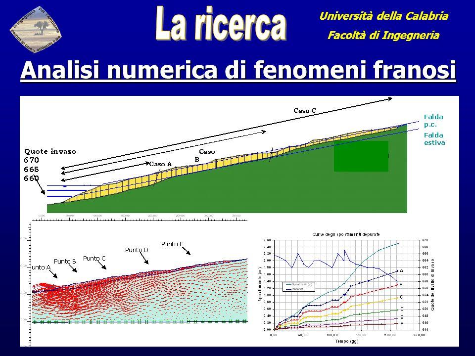 Università della Calabria Facoltà di Ingegneria Analisi numerica di fenomeni franosi
