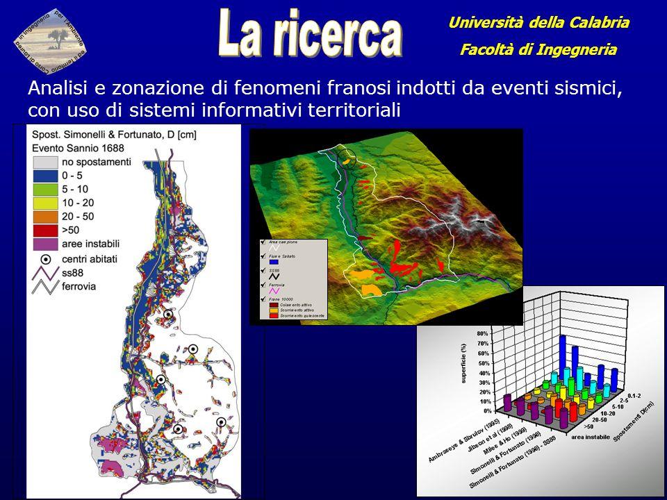Analisi e zonazione di fenomeni franosi indotti da eventi sismici, con uso di sistemi informativi territoriali Università della Calabria Facoltà di Ingegneria