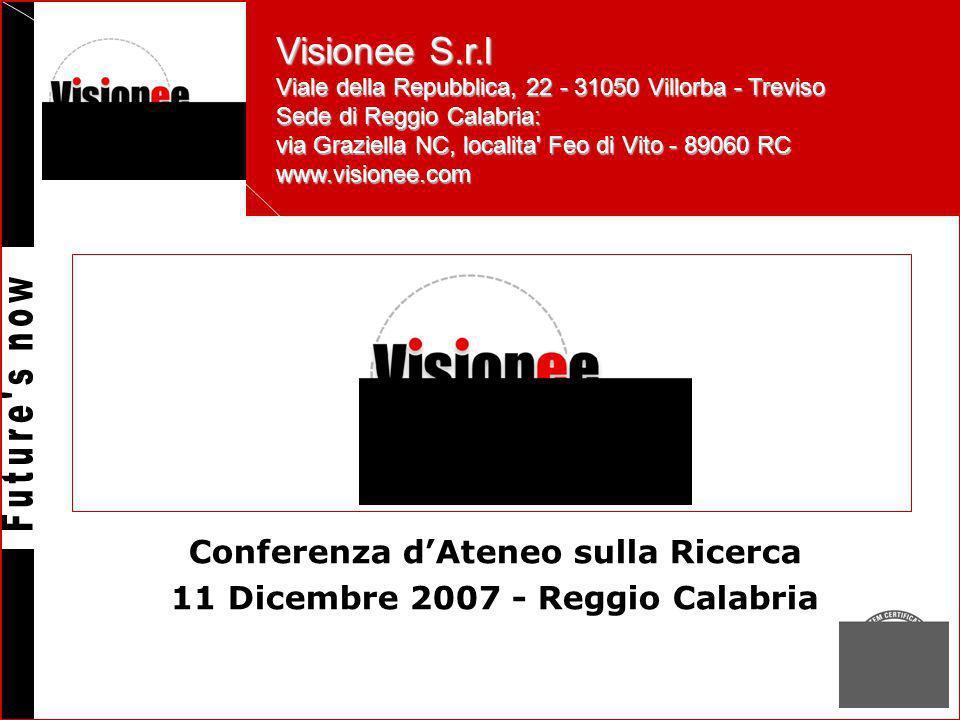 Visionee S.r.l Viale della Repubblica, 22 - 31050 Villorba - Treviso Sede di Reggio Calabria: via Graziella NC, localita Feo di Vito - 89060 RC www.visionee.com Conferenza dAteneo sulla Ricerca 11 Dicembre 2007 - Reggio Calabria