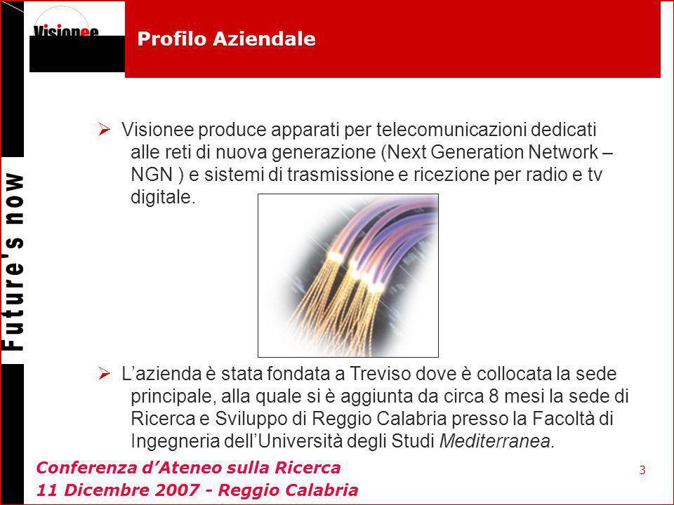 3 Profilo Aziendale Visionee produce apparati per telecomunicazioni dedicati alle reti di nuova generazione (Next Generation Network – NGN ) e sistemi di trasmissione e ricezione per radio e tv digitale.
