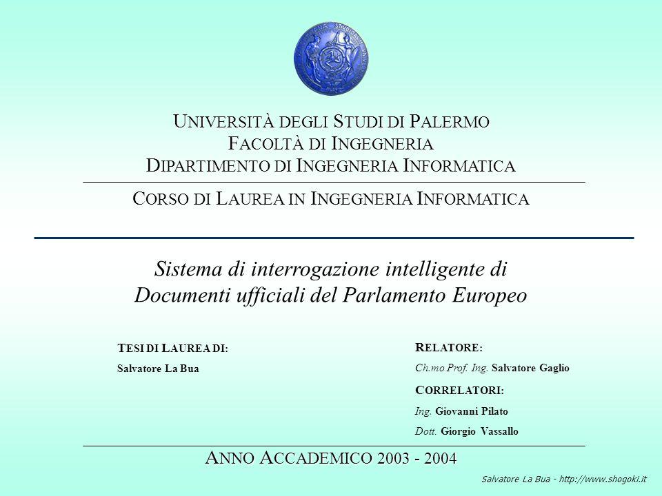 Salvatore La Bua - http://www.shogoki.it Introduzione Lobiettivo del lavoro svolto e´ la realizzazione di un sistema di recupero automatico di informazioni capace di restituire allutente documenti del Parlamento Europeo a seguito di interrogazioni in linguaggio naturale.