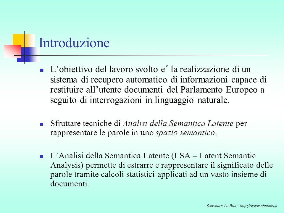Salvatore La Bua - http://www.shogoki.it Funzionalita´ principali di LSA-Bot Interazione semplice con lutente: Simulazione del dialogo naturale uomo-macchina.