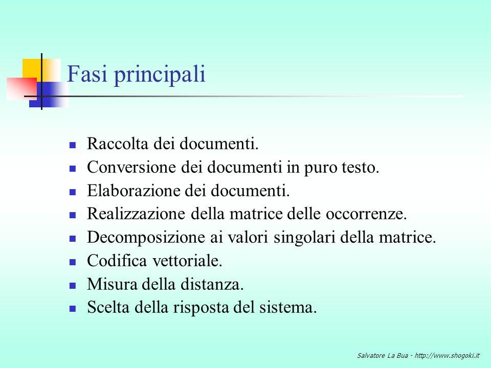 Salvatore La Bua - http://www.shogoki.it Fasi principali Raccolta dei documenti. Conversione dei documenti in puro testo. Elaborazione dei documenti.