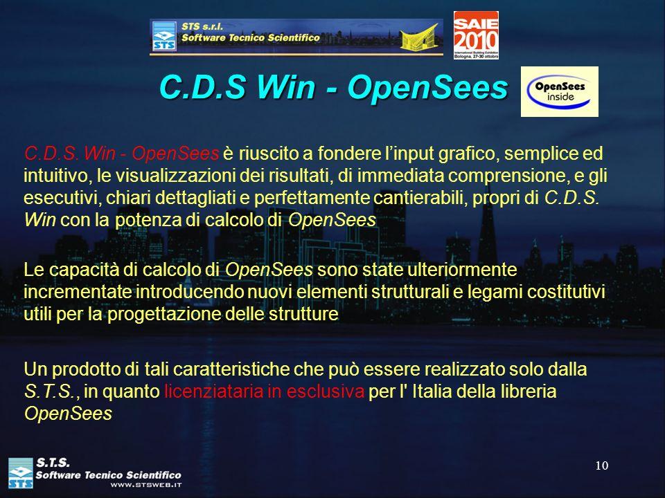 10 C.D.S Win - OpenSees C.D.S. Win - OpenSees è riuscito a fondere linput grafico, semplice ed intuitivo, le visualizzazioni dei risultati, di immedia