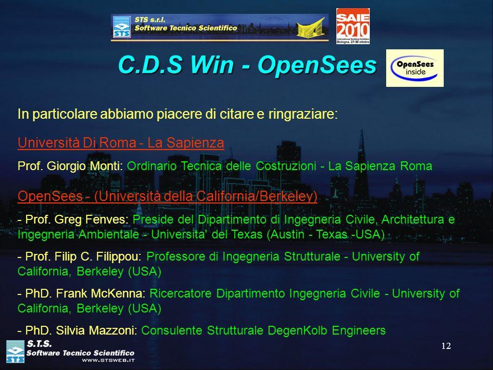 12 C.D.S Win - OpenSees In particolare abbiamo piacere di citare e ringraziare: Università Di Roma - La Sapienza Prof. Giorgio Monti: Ordinario Tecnic