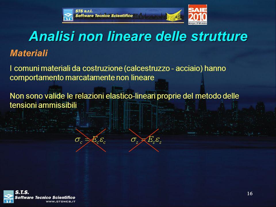 16 Analisi non lineare delle strutture Materiali I comuni materiali da costruzione (calcestruzzo - acciaio) hanno comportamento marcatamente non linea