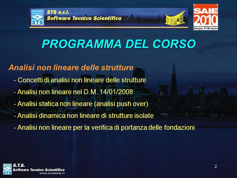 2 PROGRAMMA DEL CORSO Analisi non lineare delle strutture - Concetti di analisi non lineare delle strutture - Analisi non lineare nel D.M. 14/01/2008