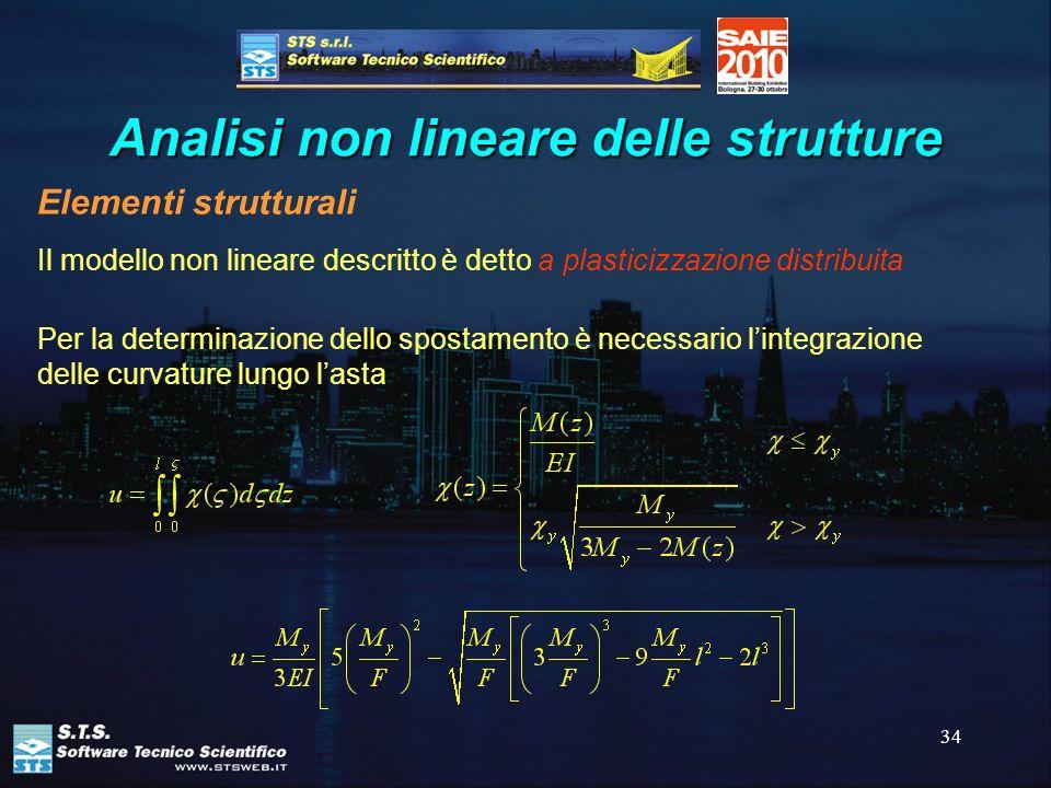 34 Analisi non lineare delle strutture Elementi strutturali Il modello non lineare descritto è detto a plasticizzazione distribuita Per la determinazi