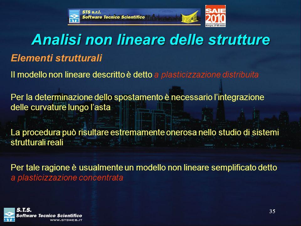 35 Analisi non lineare delle strutture Elementi strutturali Il modello non lineare descritto è detto a plasticizzazione distribuita Per la determinazi