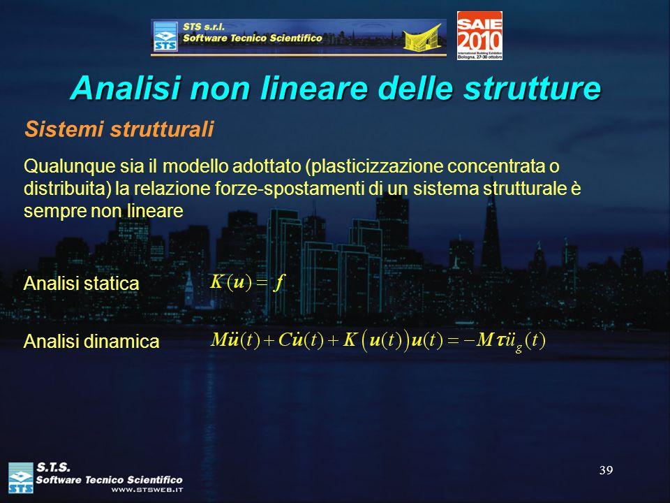 39 Analisi non lineare delle strutture Sistemi strutturali Qualunque sia il modello adottato (plasticizzazione concentrata o distribuita) la relazione