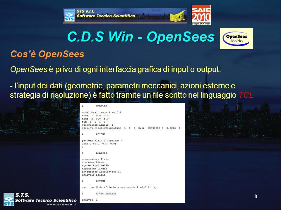 8 C.D.S Win - OpenSees OpenSees è privo di ogni interfaccia grafica di input o output: - linput dei dati (geometrie, parametri meccanici, azioni ester