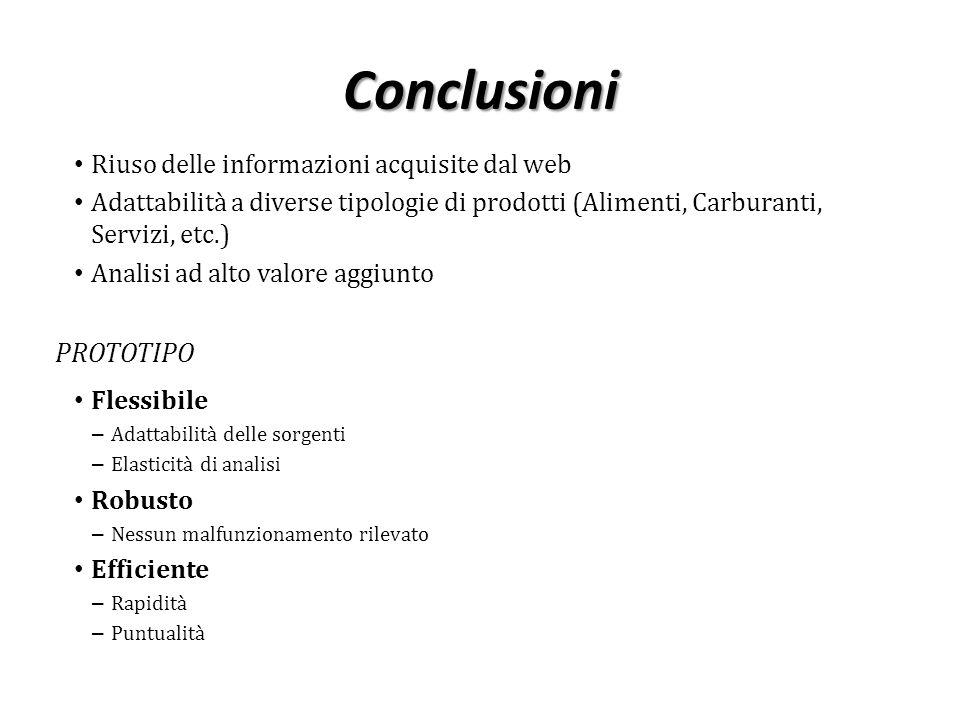 Conclusioni Riuso delle informazioni acquisite dal web Adattabilità a diverse tipologie di prodotti (Alimenti, Carburanti, Servizi, etc.) Analisi ad a