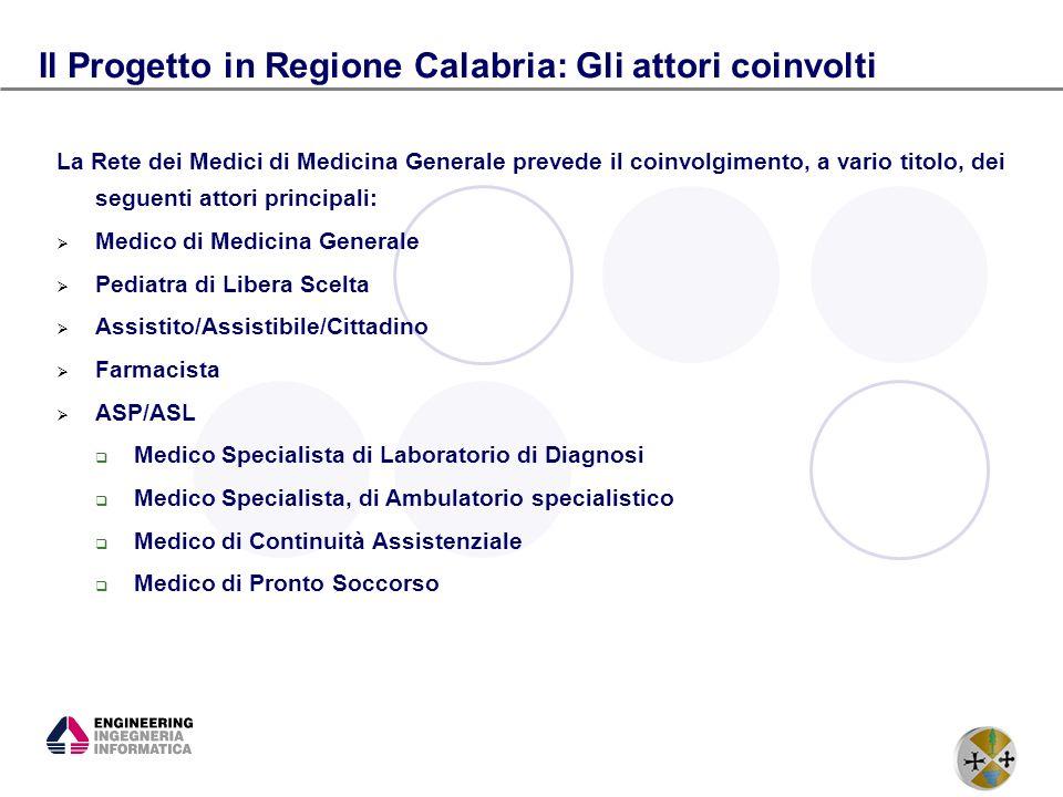 12 Il Progetto in Regione Calabria: Gli attori coinvolti La Rete dei Medici di Medicina Generale prevede il coinvolgimento, a vario titolo, dei seguen