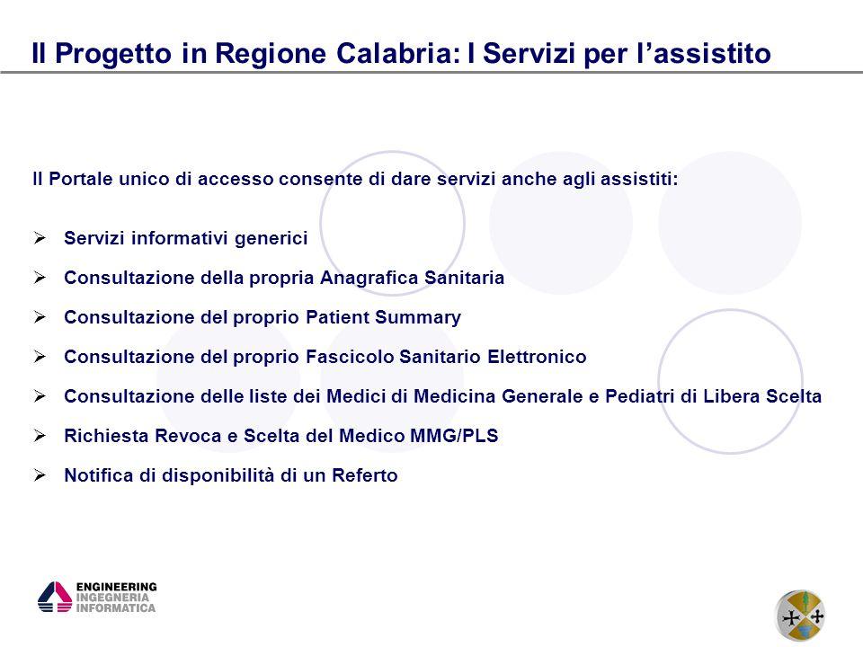 14 Il Progetto in Regione Calabria: I Servizi per lassistito Il Portale unico di accesso consente di dare servizi anche agli assistiti: Servizi inform