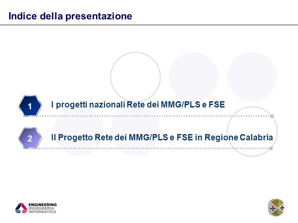 2 1 2 Indice della presentazione I progetti nazionali Rete dei MMG/PLS e FSE Il Progetto Rete dei MMG/PLS e FSE in Regione Calabria