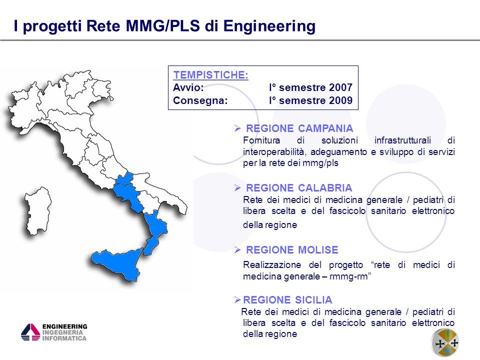 5 I progetti Rete MMG/PLS di Engineering REGIONE CAMPANIA Fornitura di soluzioni infrastrutturali di interoperabilità, adeguamento e sviluppo di servi