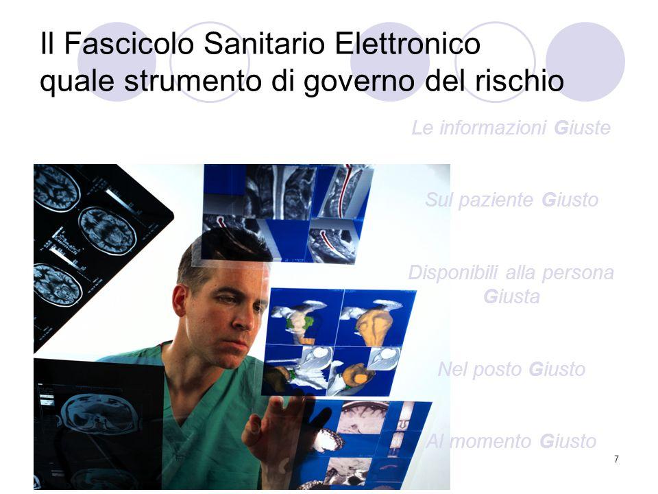 7 Il Fascicolo Sanitario Elettronico quale strumento di governo del rischio Le informazioni Giuste Sul paziente Giusto Disponibili alla persona Giusta
