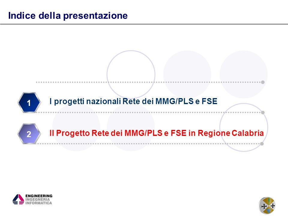 8 1 2 Indice della presentazione I progetti nazionali Rete dei MMG/PLS e FSE Il Progetto Rete dei MMG/PLS e FSE in Regione Calabria