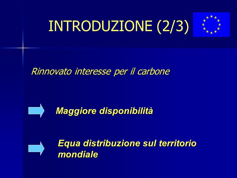 Rinnovato interesse per il carbone Maggiore disponibilità Equa distribuzione sul territorio mondiale INTRODUZIONE (2/3)