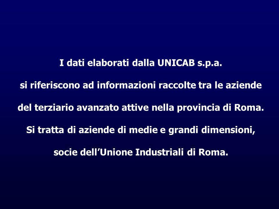 I dati elaborati dalla UNICAB s.p.a. si riferiscono ad informazioni raccolte tra le aziende del terziario avanzato attive nella provincia di Roma. Si