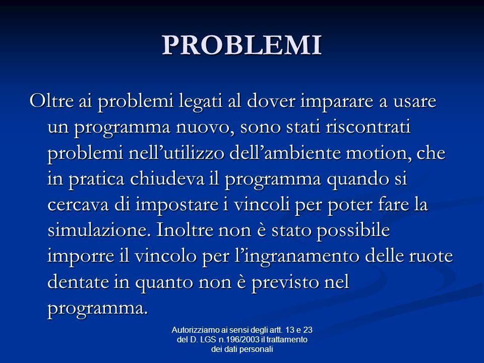 Autorizziamo ai sensi degli artt. 13 e 23 del D. LGS n.196/2003 il trattamento dei dati personali PROBLEMI Oltre ai problemi legati al dover imparare