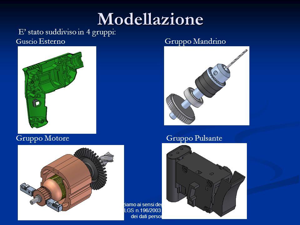 Modellazione E stato suddiviso in 4 gruppi: Guscio Esterno Gruppo Mandrino Gruppo Motore Gruppo Pulsante