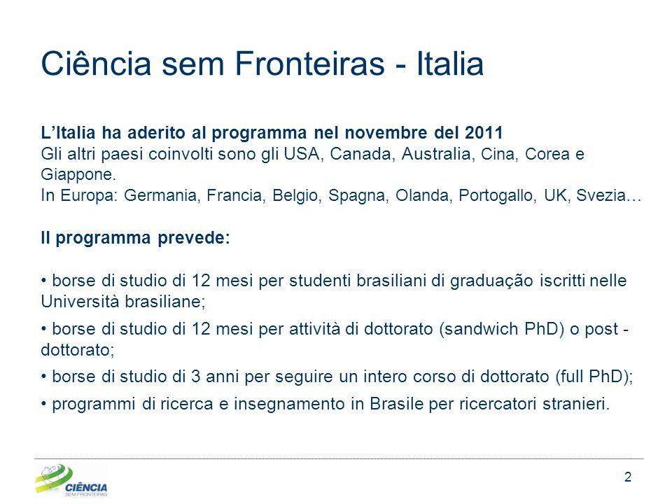 2 Ciência sem Fronteiras - Italia LItalia ha aderito al programma nel novembre del 2011 Gli altri paesi coinvolti sono gli USA, Canada, Australia, Cina, Corea e Giappone.