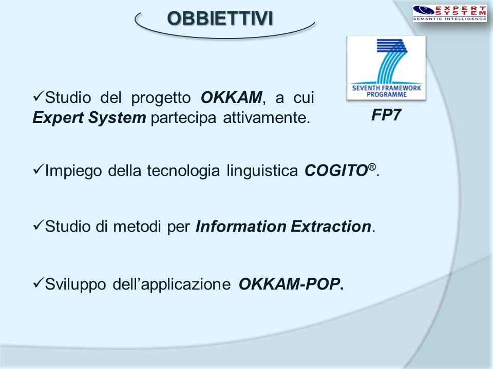 OBBIETTIVI Impiego della tecnologia linguistica COGITO ®. Studio di metodi per Information Extraction. Sviluppo dellapplicazione OKKAM-POP. Studio del